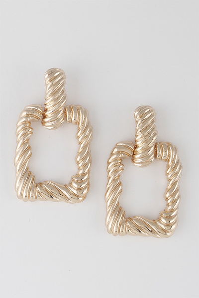 Open Cut Square Twisted Earrings