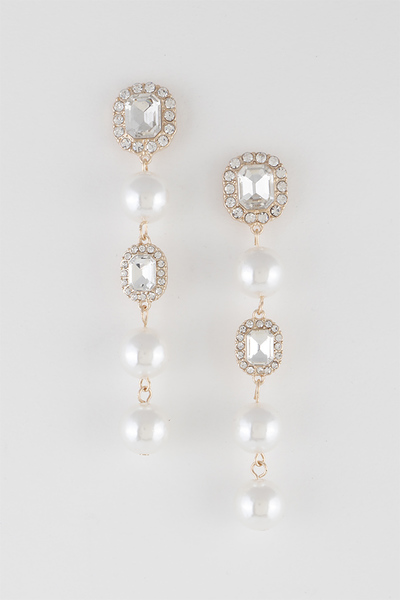 Luxury Stones Linked Drop Earrings
