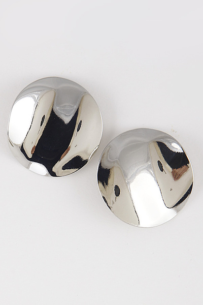 Metal Curved Round Earrings