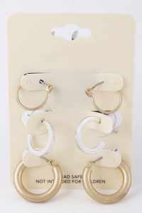 Three Cute Hoop Earring Set