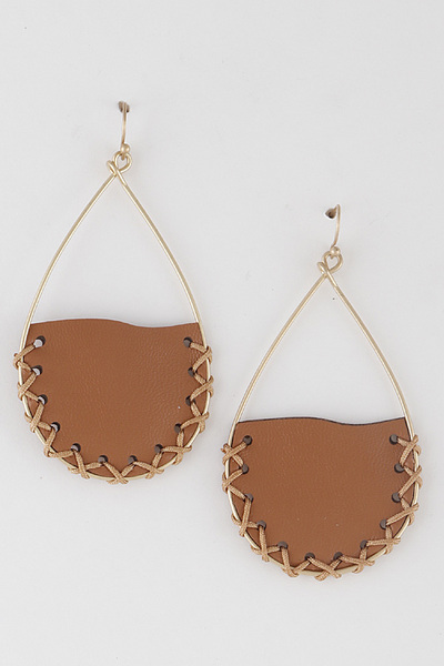 Stitched Leather On Frame Earrings