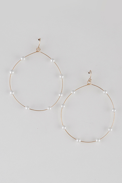 Pearls Along Round Frame Earrings