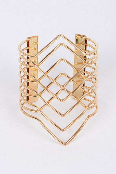 Layered Metallic Open Cut Bracelet