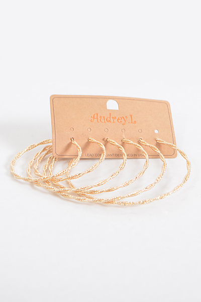 Ancient Inspired Twisted Hoop Earrings Set