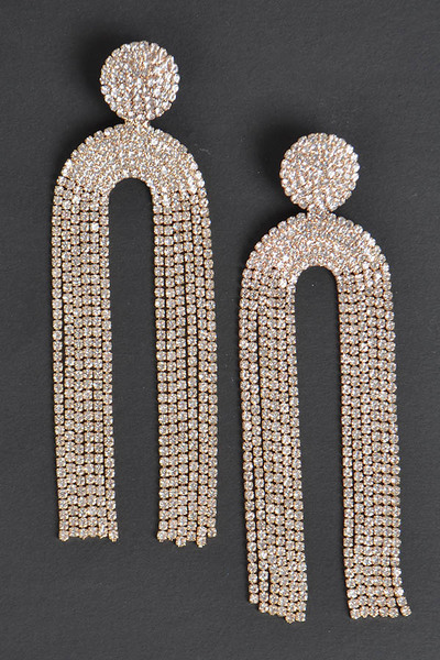 Symmetric Rhinestone Drop Earrings