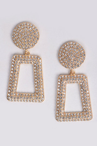Open Cut Rhinestone Back Drop Earring