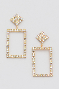 Open Cut Rhinestone Square Drop Earring