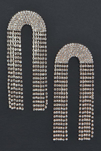 Symmetric Rhinestone Back Drop Earring