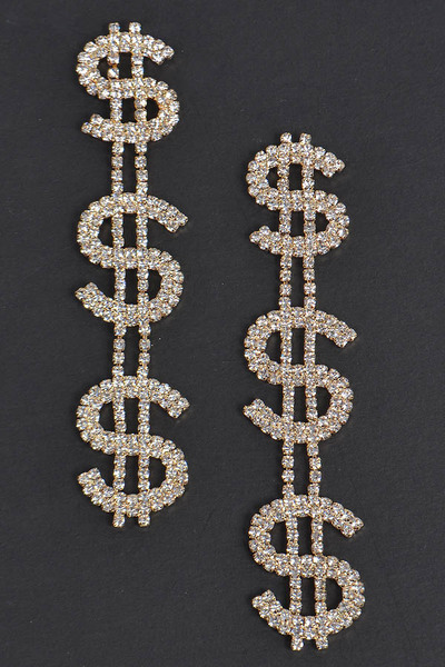 Dollar Sign Drop Earrings