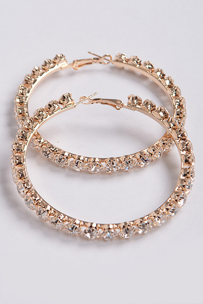 Bulk Rhinestone Hoop Earrings