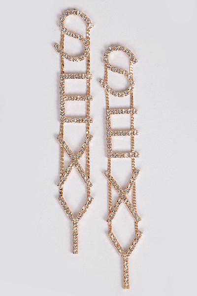 Rhinestone Sexy Back Drop Earring