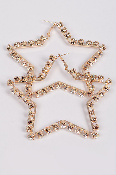 Open Cut Rhinestone Star Hoop Earring