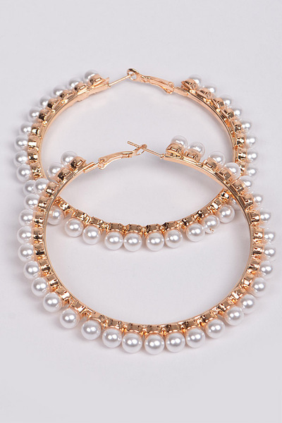 Pearls Go Around Hoop Earrings