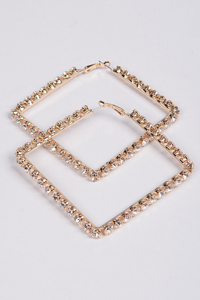 Rhinestone Square Hoop Earrings