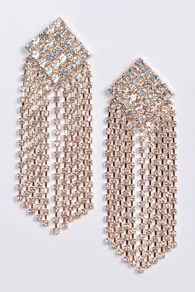 Aztec Rhinestone Back Drop Earring