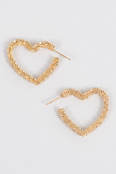 Glitter Heart Hoop Earrings
