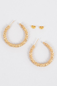 Glitter Round Hoop M Earrings