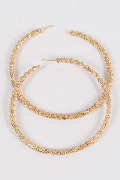 Glitter Round Hoop L Earrings