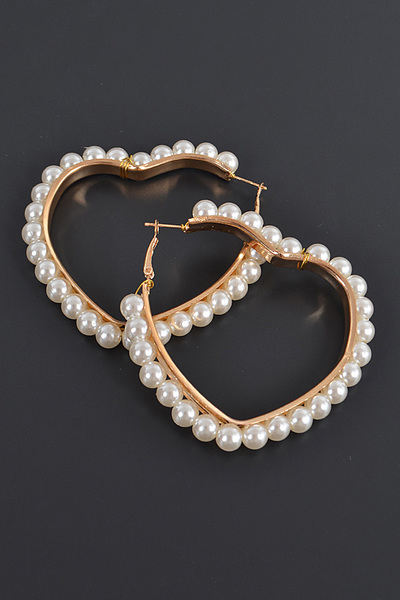 Heart Shape Pearl Hoop Earrings