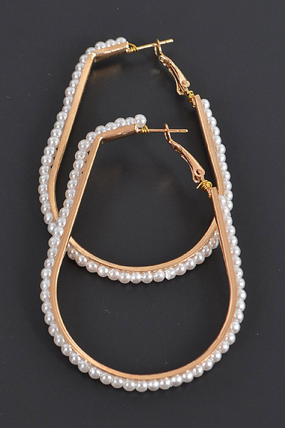 Tear Drop Pearl Hoop Earrings