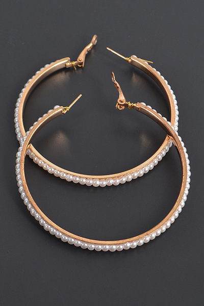 Round Shape Pearl Hoop Earrings