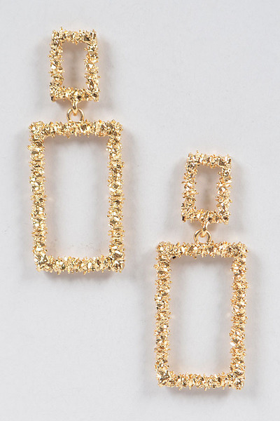 Glitter Rectangle Dangling Earrings