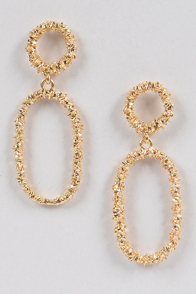 Glitter Oval Dangling Earrings