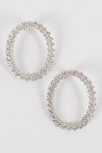 Glitter Oval Shape Earrings