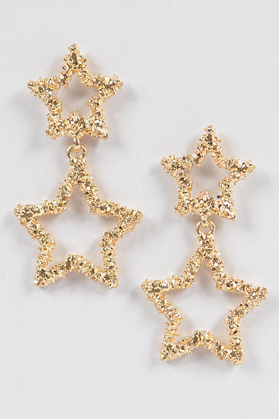 Glitter Star Dangling Earrings