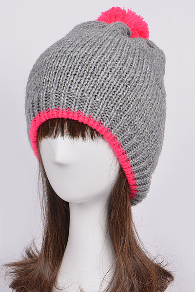 Neon Detailed Beanie With Puff Ball