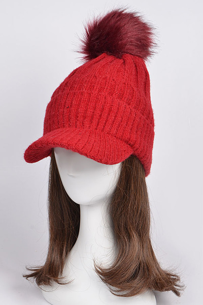 Knit Cap With Puff Ball