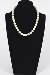 Simple Pearl Bead Lined Necklace