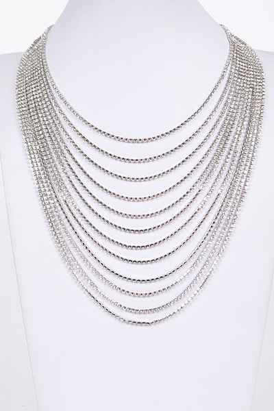 Beaded Rhinestone Layered Necklace