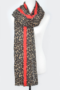 Leopard Scarf W Red Stripe