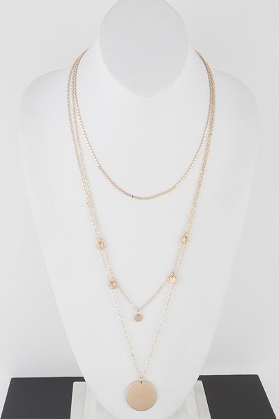 Simple Round Pendant Multi Layer Necklace