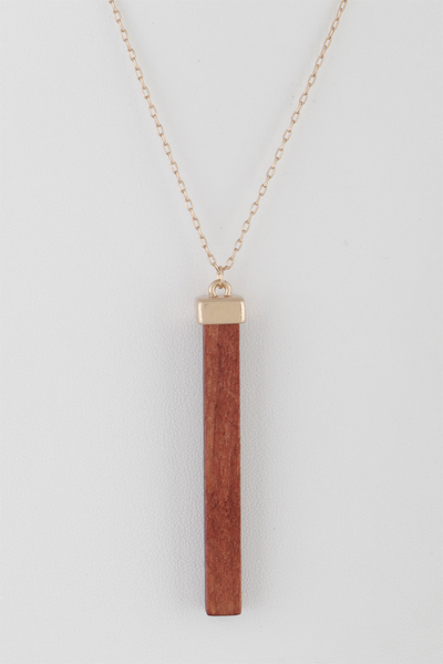 Wood Bar Pendant Necklace