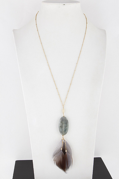 Feather and Stone Necklace