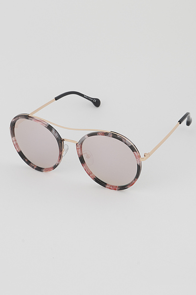 Gold Rim Aviator Round Sunglasses