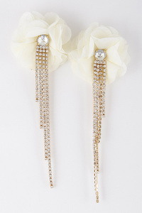 Delicate Flower & Rhinestone Earrings