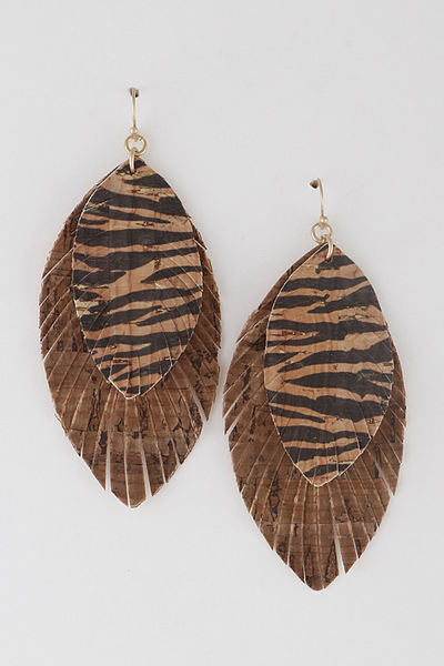 Tiger Print Layered Earrings