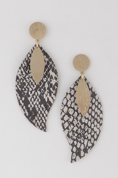Scratched Metal On Snake Earrings