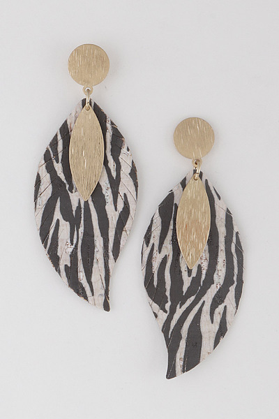 Scratched Metal On Tiger Earrings