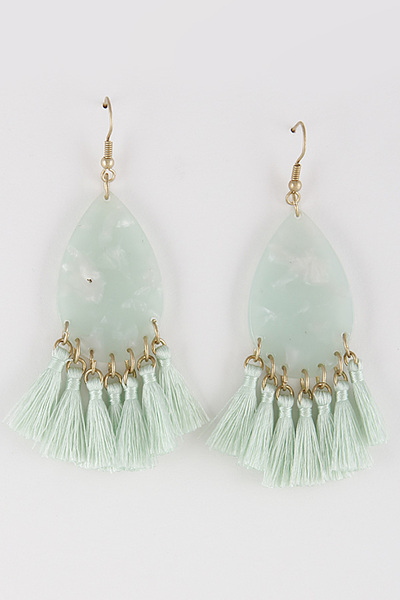 Western Stone & Baby Tassel Earrings
