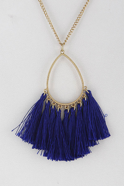 Teardrop Long Necklace With Fringe Tassels