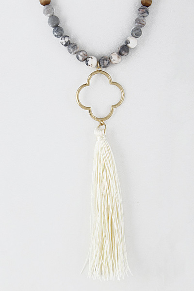 Clover & Tassel Long Stone Bead Necklace 8AAC7