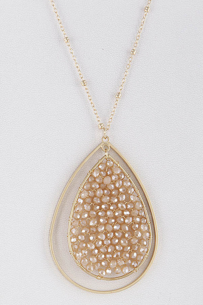 Beaded Stones Teardrop Pendant Long Necklace