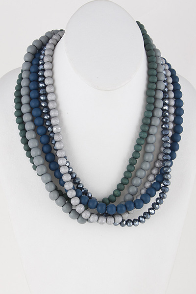 Layered Beaded Stone Necklace