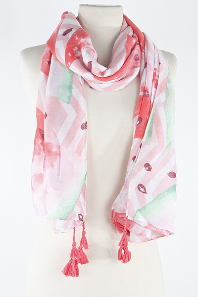 Lined Flower Leaf With Tassel Scarf