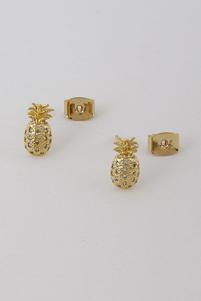 Pineapple Glimmer Stud Earring