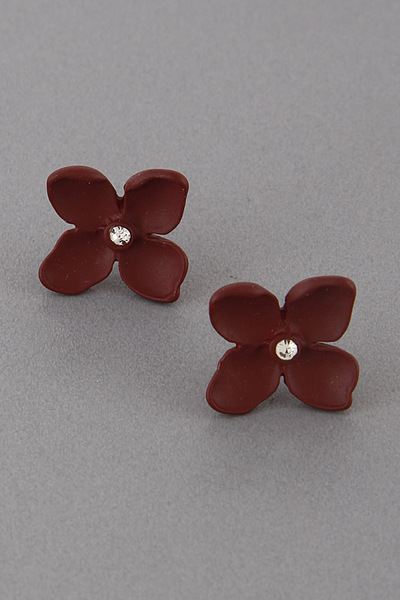 Clay Four Petal Flower Earrings